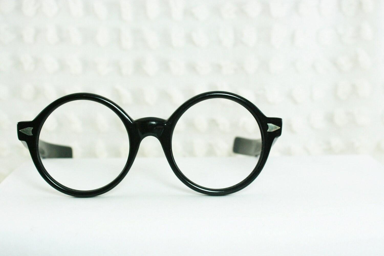 Round Glasses Frame Black : Vintage 60s Glasses 1960s Round Eyeglasses Black by DIAeyewear