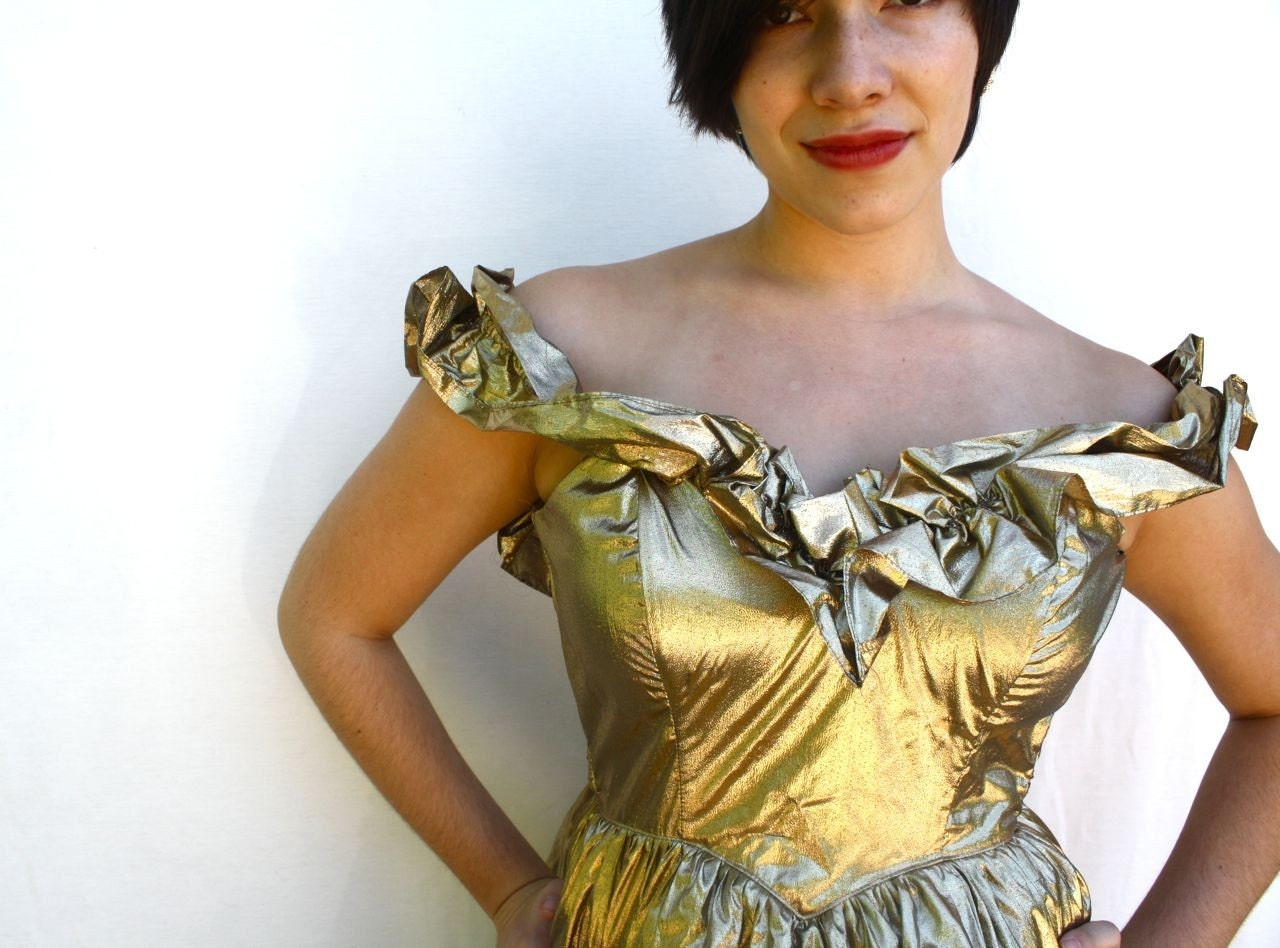 precious metals no. 4 - vintage gold lame gunne sax party dress