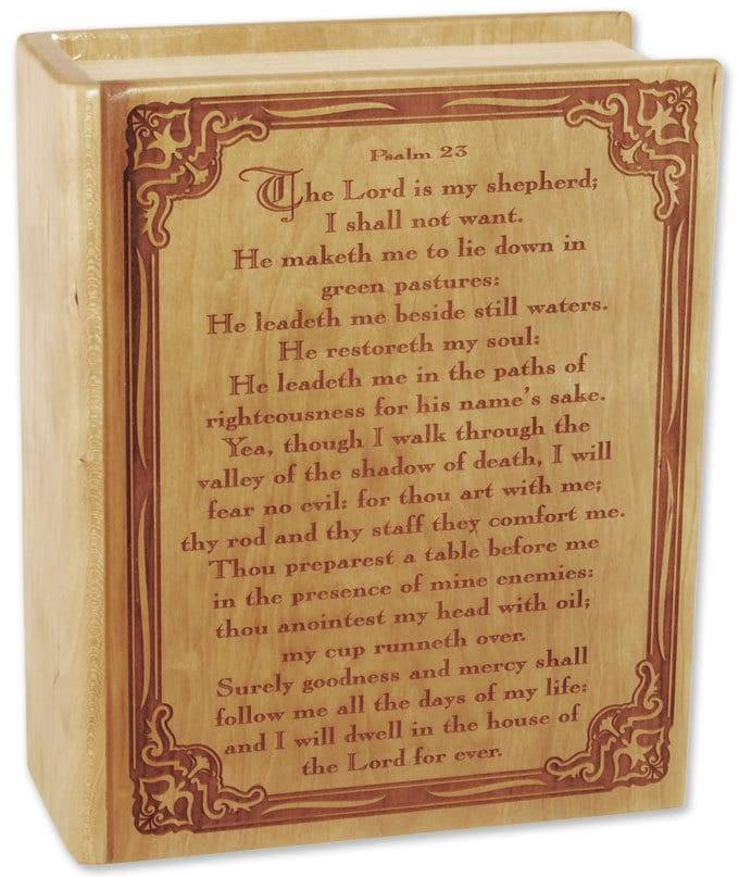 Cherry Bible Psalm 23 Wood Cremation Urn