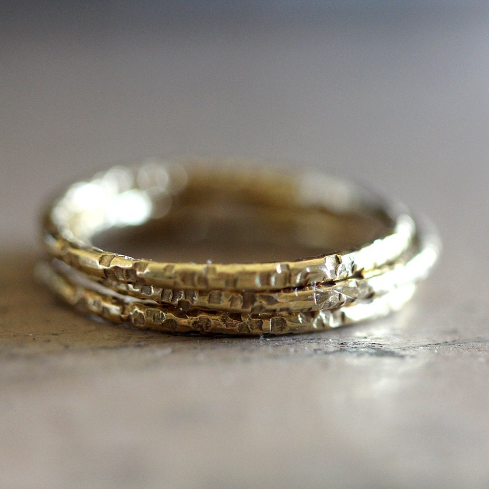 gold wedding rings set of 3 unique stacking rings by