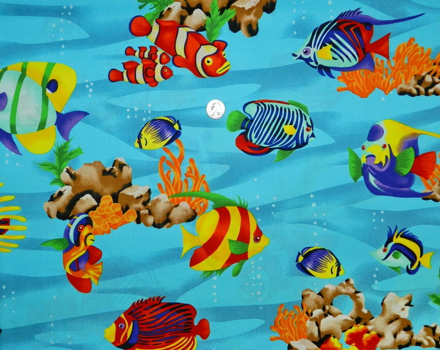 Bright rainbow fish fabric by the yard by thefabricfox on etsy for Fish fabric by the yard