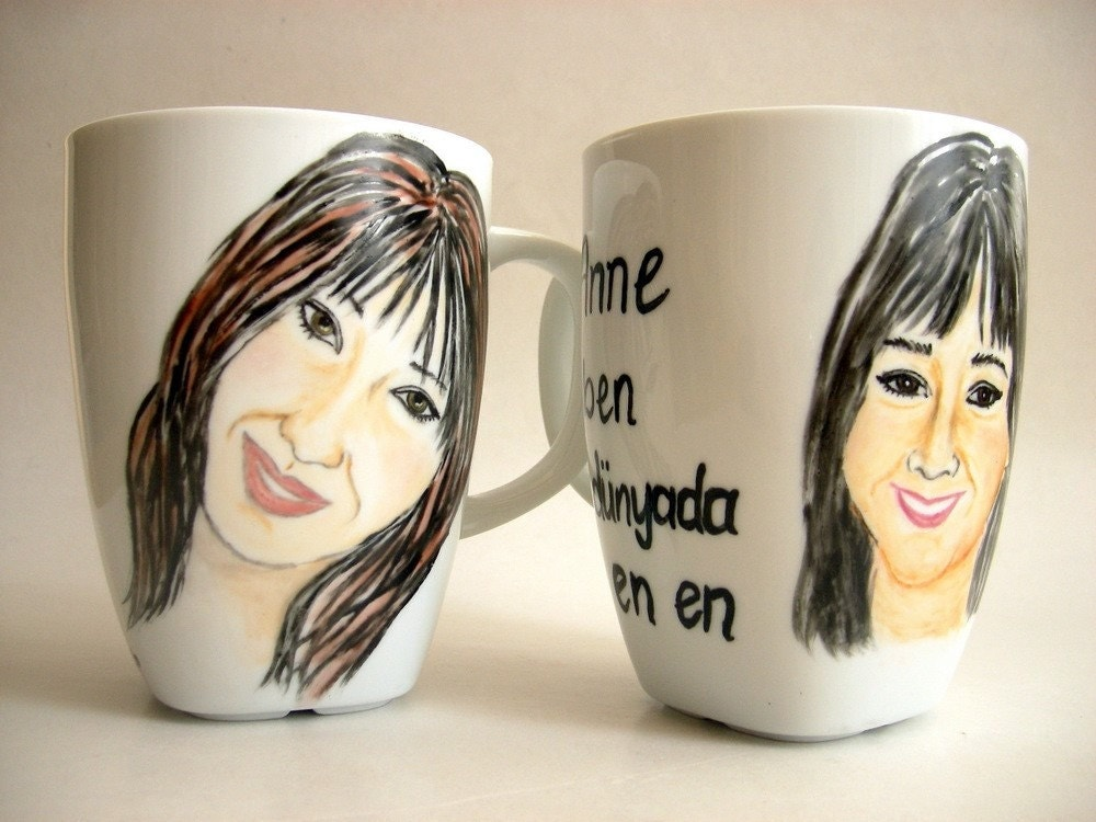 Handpainted CustomPortrait Mug Set of TWO - Made to order, Personalized Gift Idea for mom,her,him, buddy,dude, men, women- Original art , hand painting,Color painting