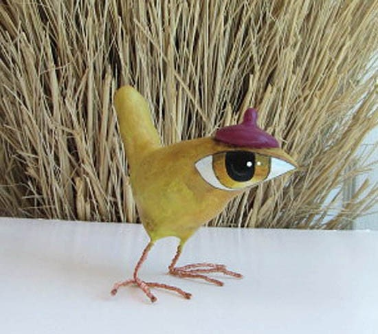 Art Sculpture - Paper Mache - Susanna - A Big Eyed Bird