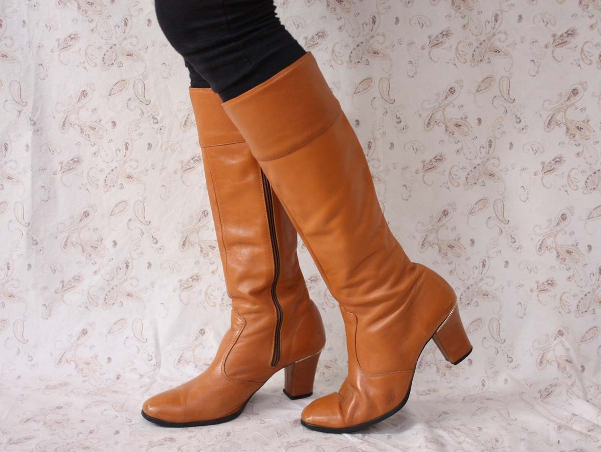 caramel knee high leather boots 9 by paisleyfacevintage on