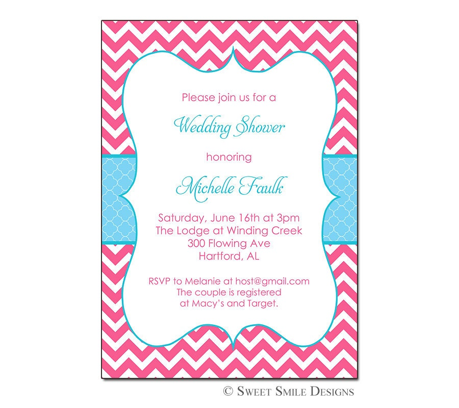 invitations hot pink and turquoise chevron wedding shower baby