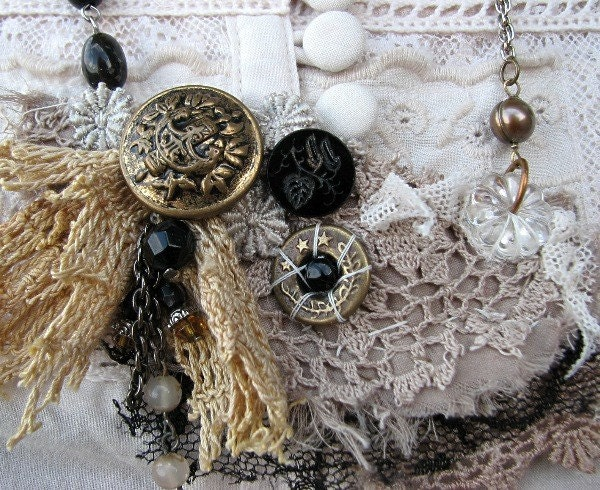 salvaged antique tattered lace bib necklace