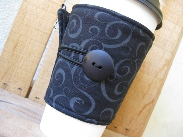 Adjustable Coffee Cozy - Black Swirls