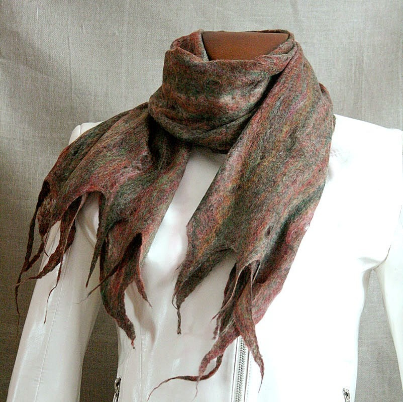 FALL FOREST cobweb felt felted lace thin scarf wrap  man woman unisex wool merino