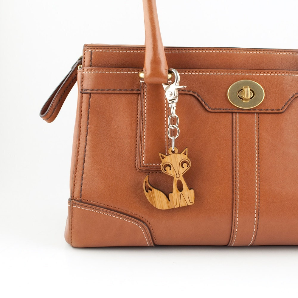 fox bag charm bamboo wood fox purse charm by