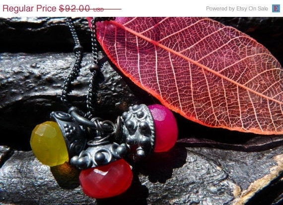 30 OFF SALE chalcedony necklace preserved rubber tree by BeijoFlor