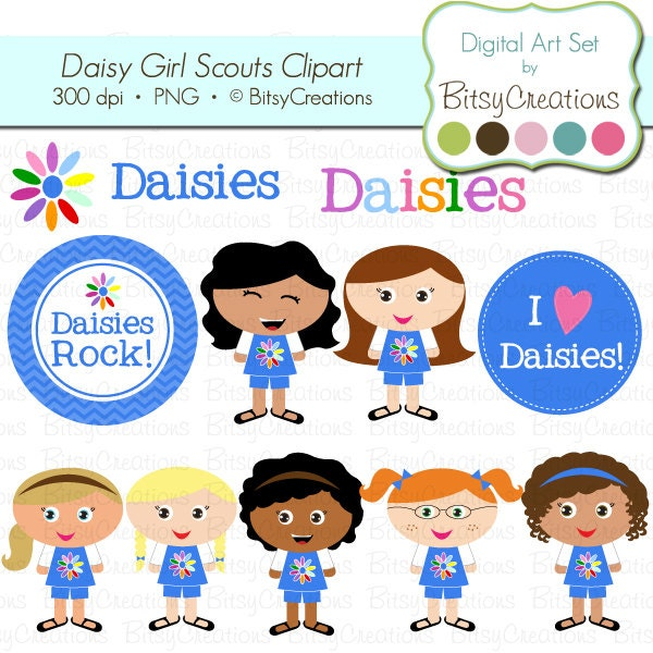 Daisy Girl Scouts Digital Art Set Clipart by BitsyCreations Commercial ...