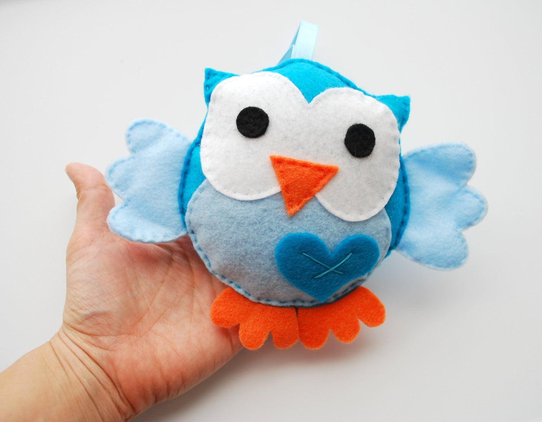 Eco friendly owl Plush toy, Blue and Baby Blue big eyes Owl
