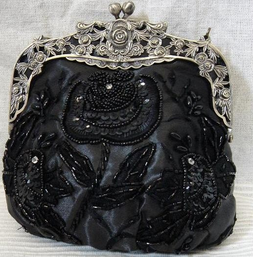 Classic Black Satin Rose Clutch Purse by BluesyMod from etsy.com