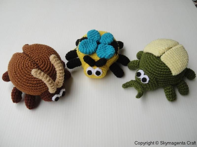 Crochet Pattern - BUGS PURSE - Cockroach, Bee and Beetle - PDF
