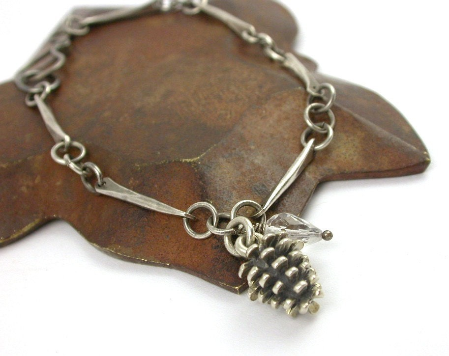 New - Hand Forged Sterling Silver Bracelet with Pinecone Charm