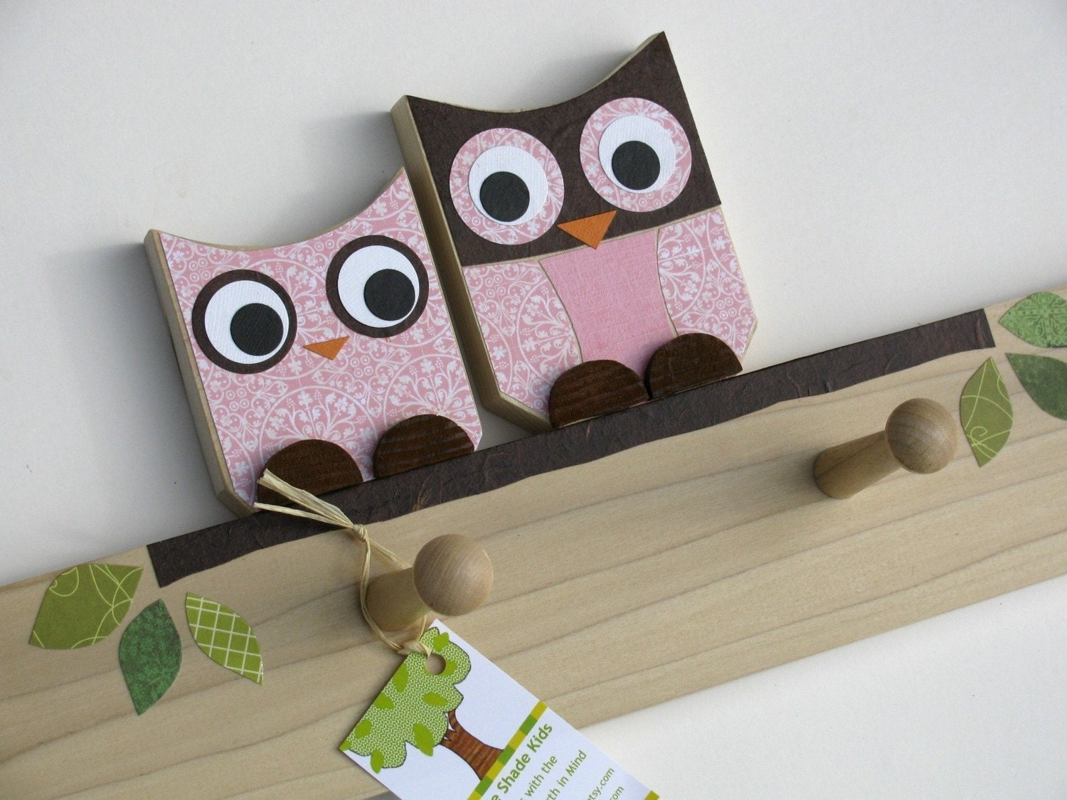Olivia the Owl and Child Peg Rack - eco-friendly by Maple Shade Kids