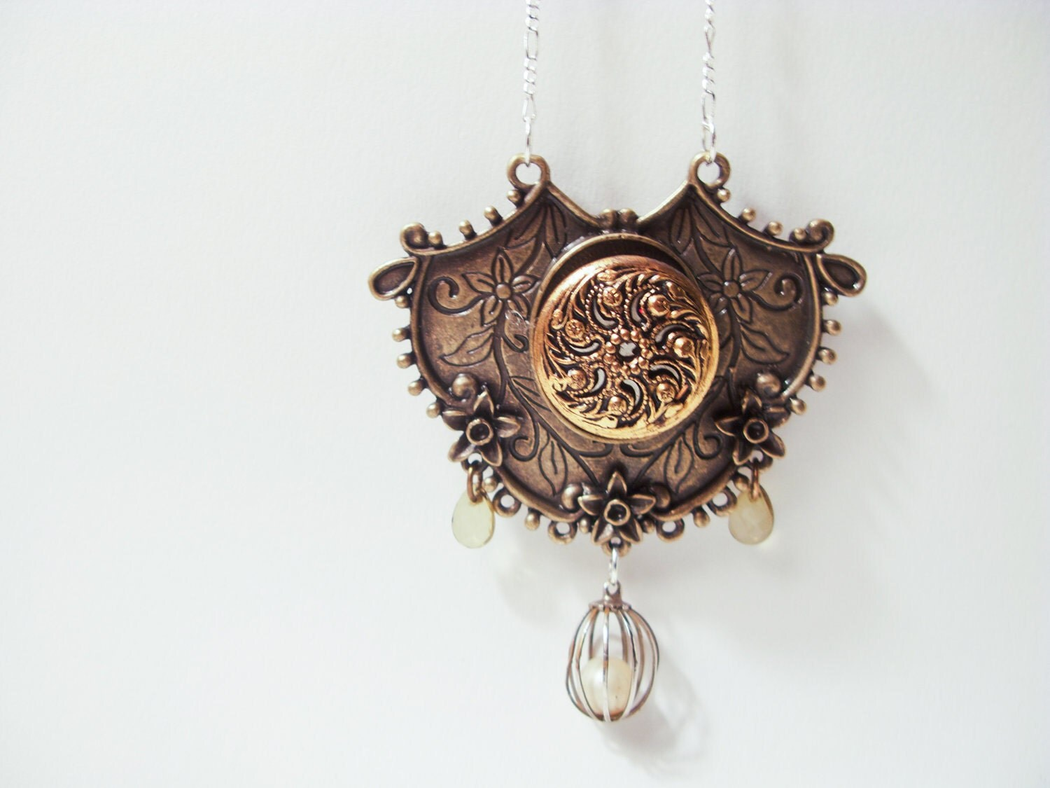 OOAK BOHO VICTORIAN: Ornate Statement Mixed Media Necklace In Brass With Antique Button - ephemeralpillages