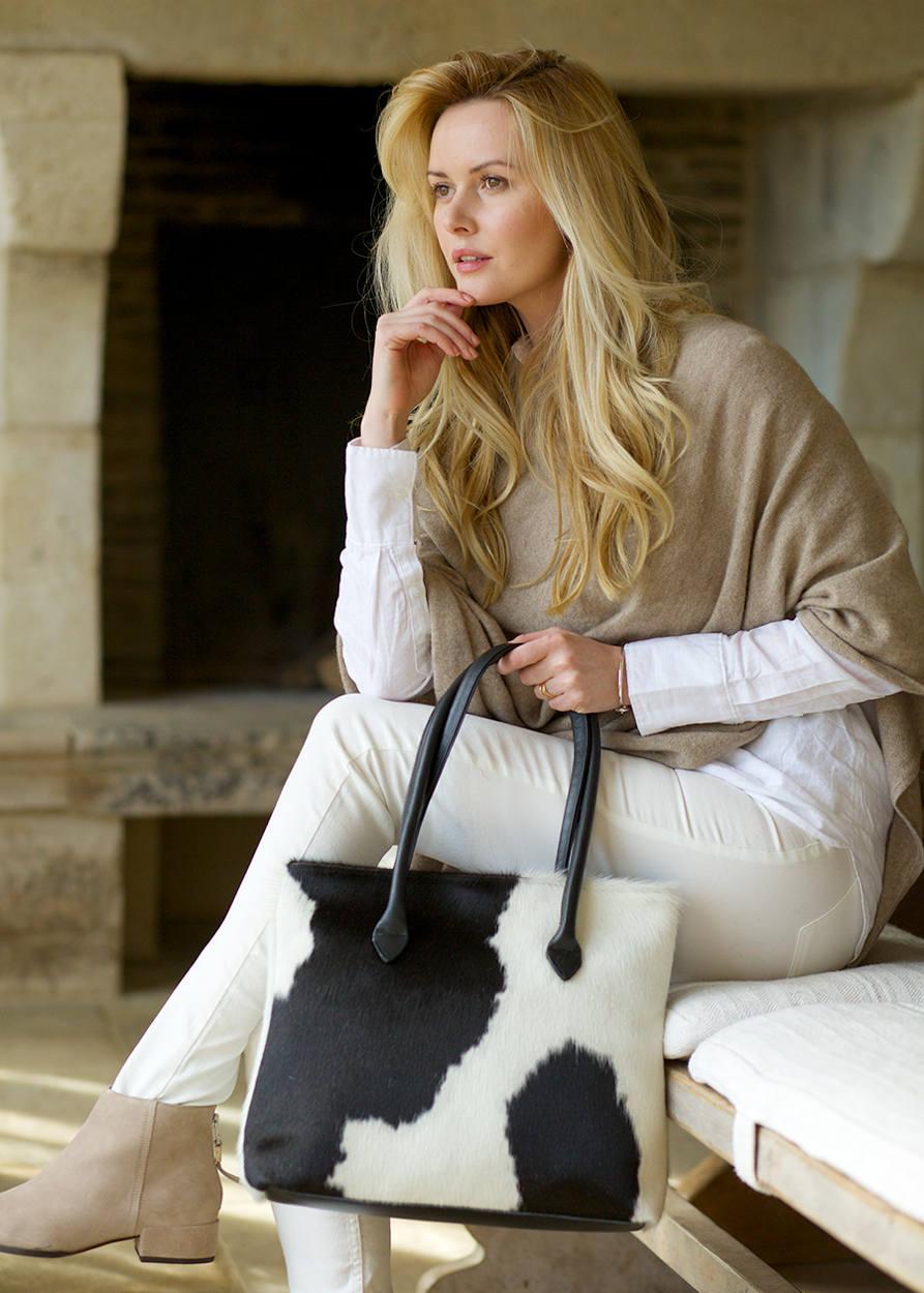 Black and White Handbag  Black and White Bag  Black Cowhide Bag  Black and White Tote