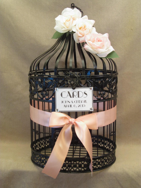 Wedding Card Box Bird Cage / Peach / Round / by SouthburyTreasures