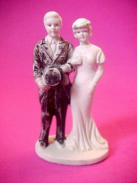 Charming 1934 Bisque Wedding Cake Topper Bride and Groom Figurine