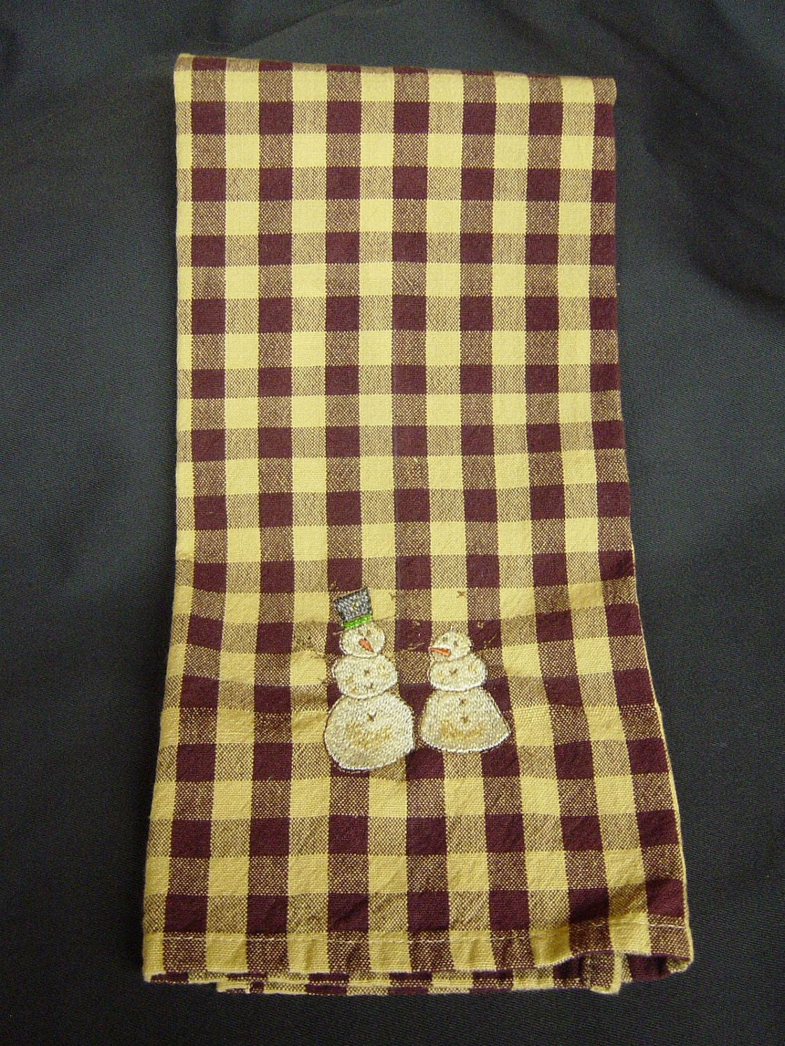 Towel, kitchen towel,  Primitive towel, Snowman towel, snowman, Homespun towel