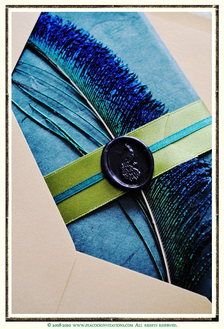SERENA  Pavo Collection Peacock Themed Wedding Invitations in Emerald Forest and Olivine Greens and Black