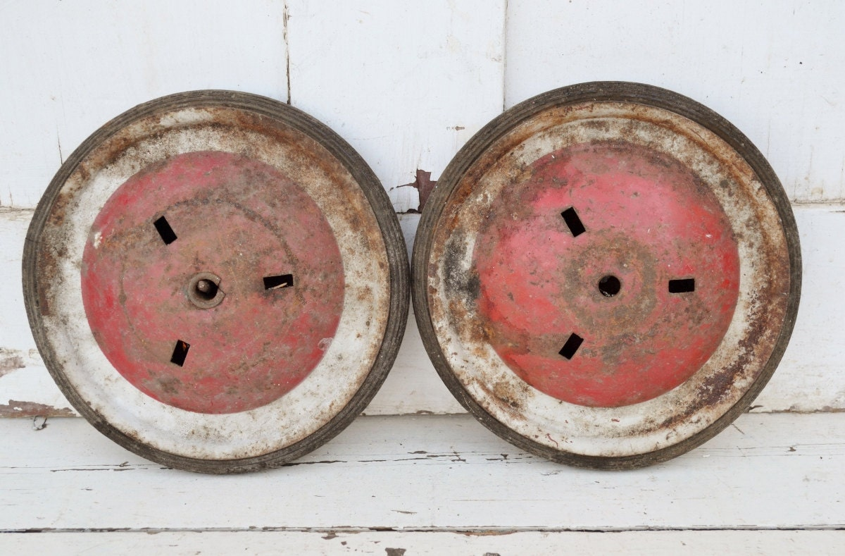 Tricycle Restoration Parts : Metal wheels pedal car wagon tricycle red by