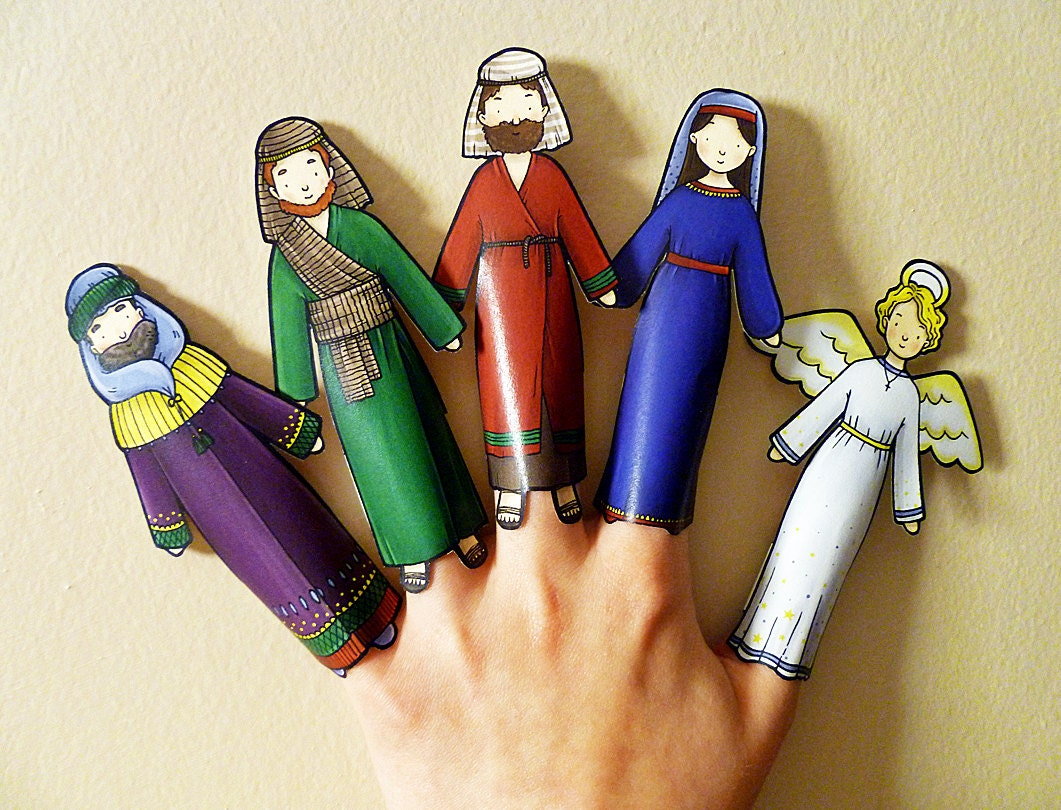 Christmas Nativity Finger Puppets Printable Puppets Christmas Craft Christmas Activity Print Your Own Christmas Decorations
