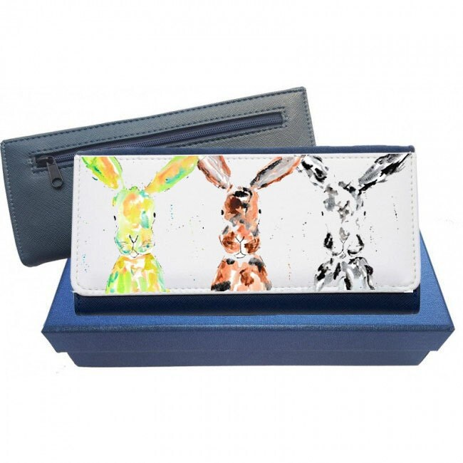 Rabbit purse navy purse leather purse hare gift rabbit leather purse hare gift gift for mum Christmas gift