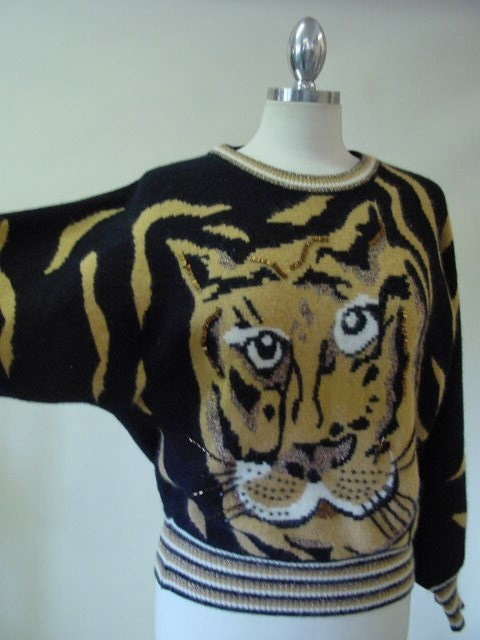Vintage 80s Beaded Tiger Sweater by  Diane Freis