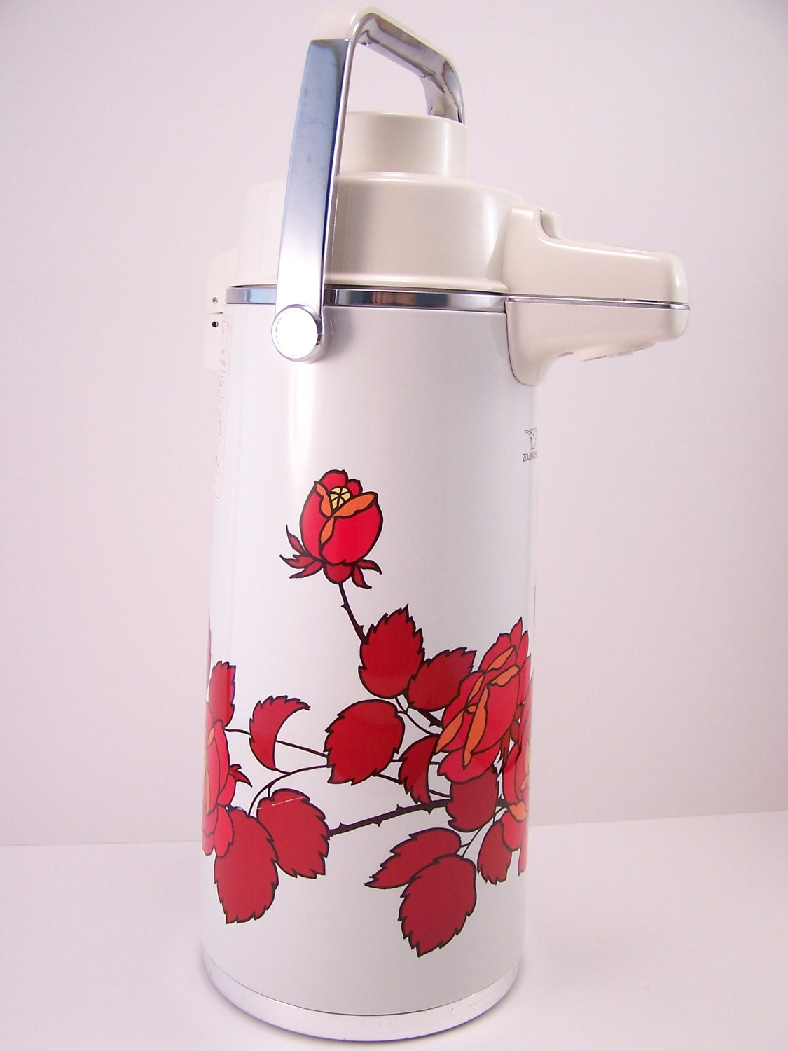 Vintage like new floral japanese thermos tea coffee white red orange