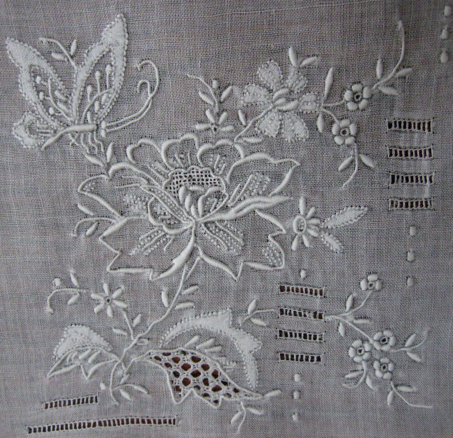 Vintage Wedding Handkerchief Embroidered Open White Work Floral Embroidery 1920s - CinfulOldies