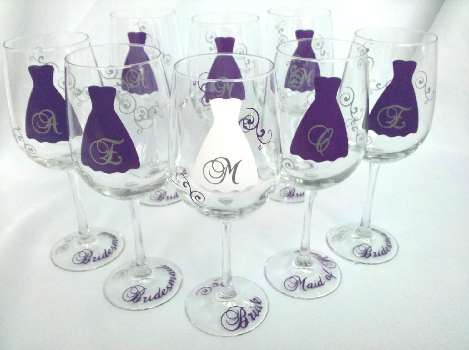 Personalised Wedding Gift Glasses : Bridesmaid wine glasses, set of 6 personalized wedding party gift with ...