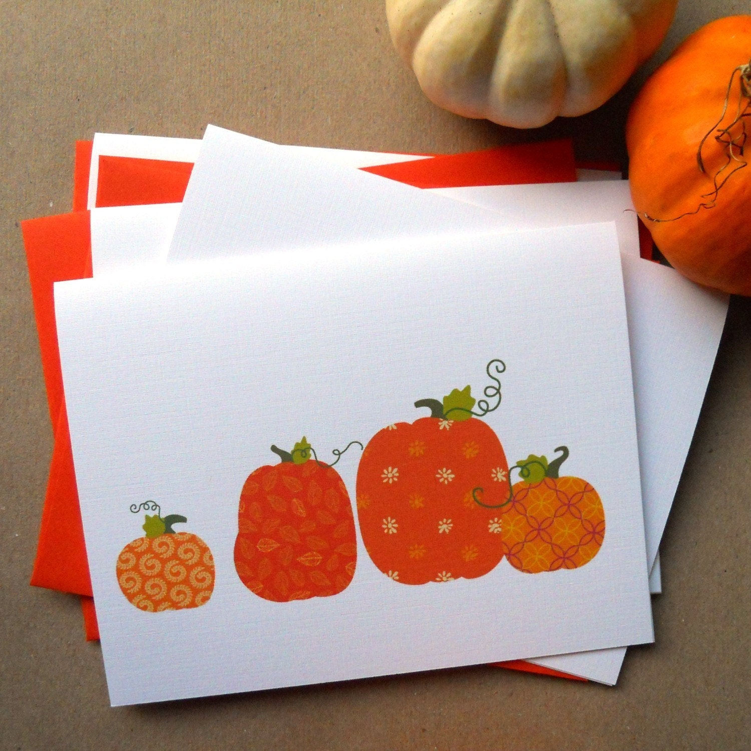 Pumpkin Harvest Cards Set of 4