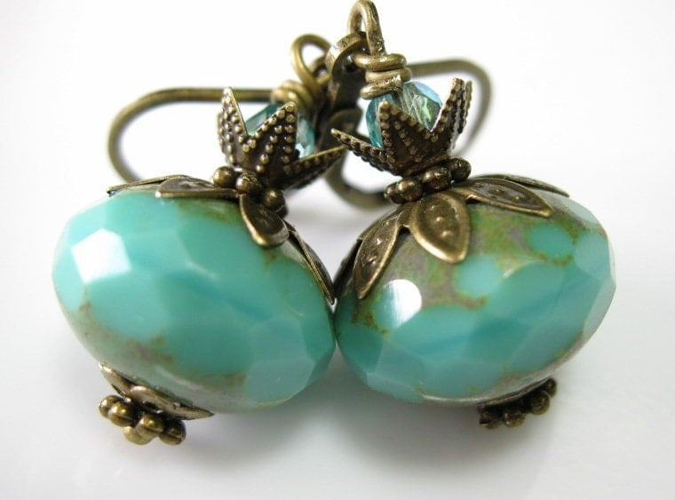 Green Turquoise Picasso Czech Glass Vintage Style Earrings
