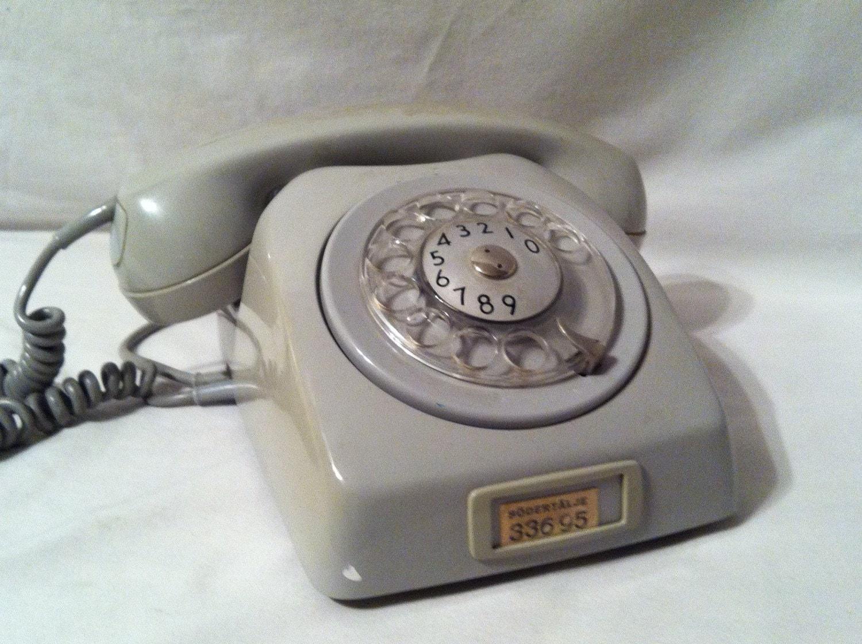Vintage Swedish Gray Rotary Phone ///MODERN DECO///