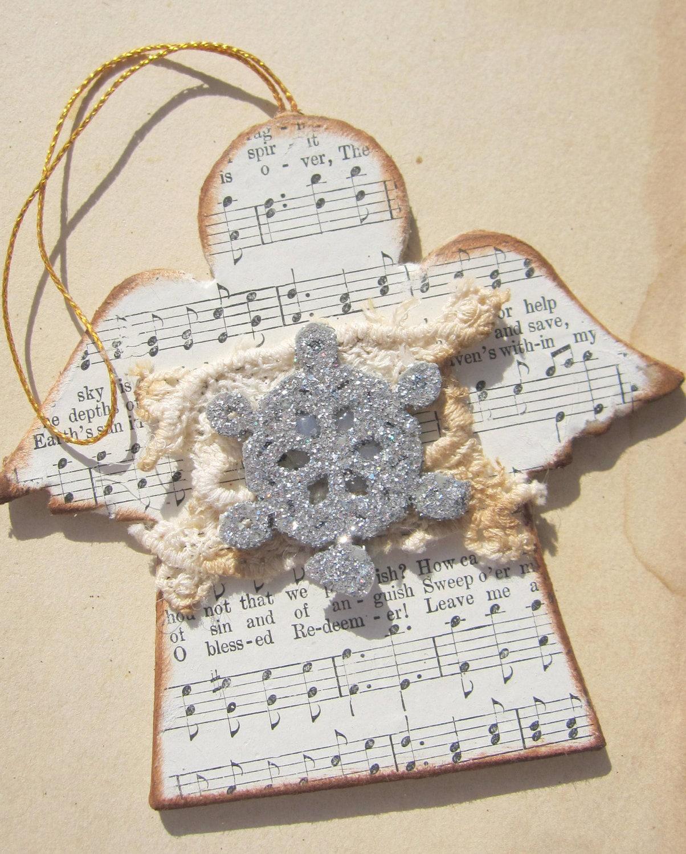 Angel Christmas Ornament, Cream, White, Silver, Shabby, Decoration, cssteam