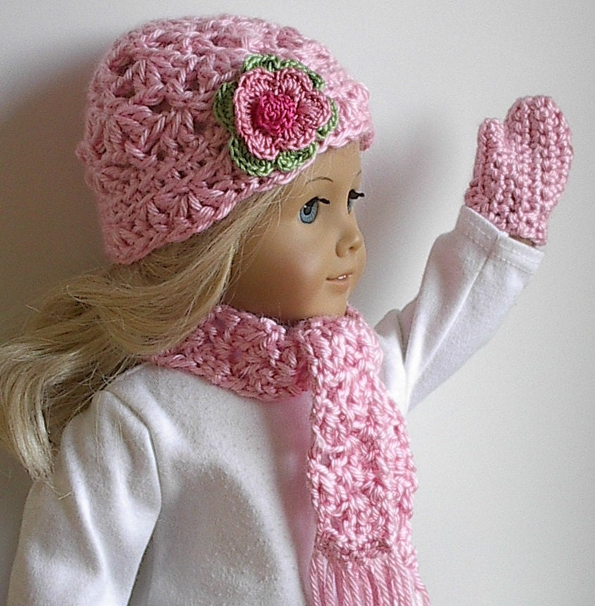 Crochet Hat Pattern American Girl Doll : American Girl Doll Clothes Crocheted Hat Scarf by Lavenderlore