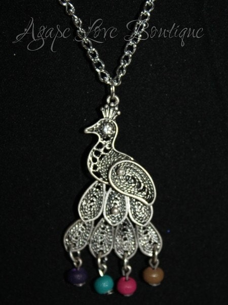 Peacock Necklace Accessory Set (with bows or rosettes)