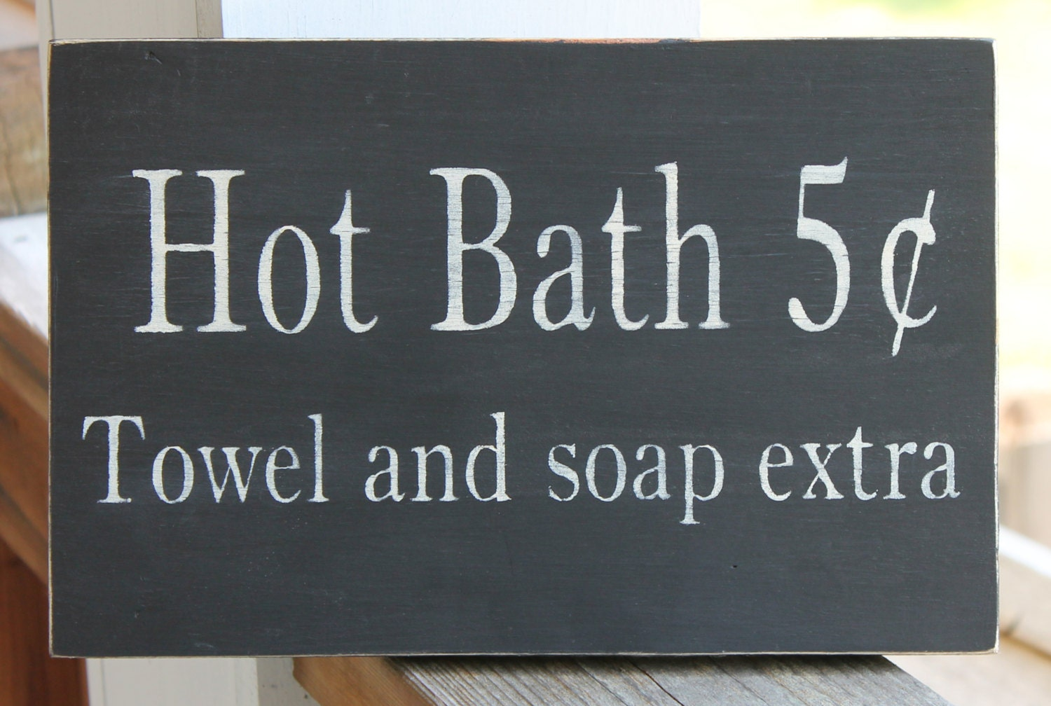Bathroom wood sign hot bath 5 cents towel and by for Bathroom quote signs