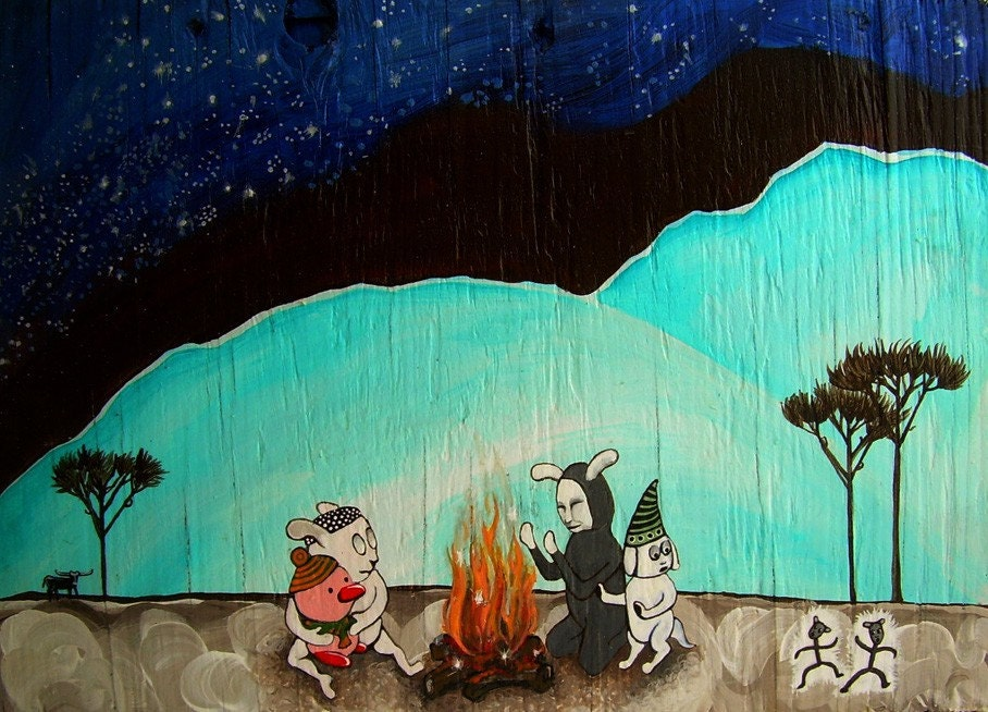 Original Painting on wood 8.5 x 12 in. Pop surrealist whimsy. Free Shipping.