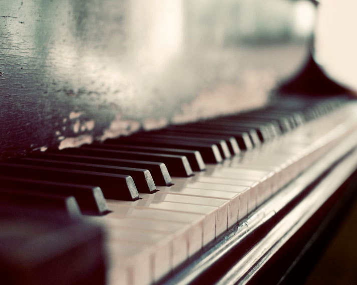 Piano Photography, Dark Melody, 8x10 Photograph, Monochromatic Macro Print, Still LIfe - ellemoss