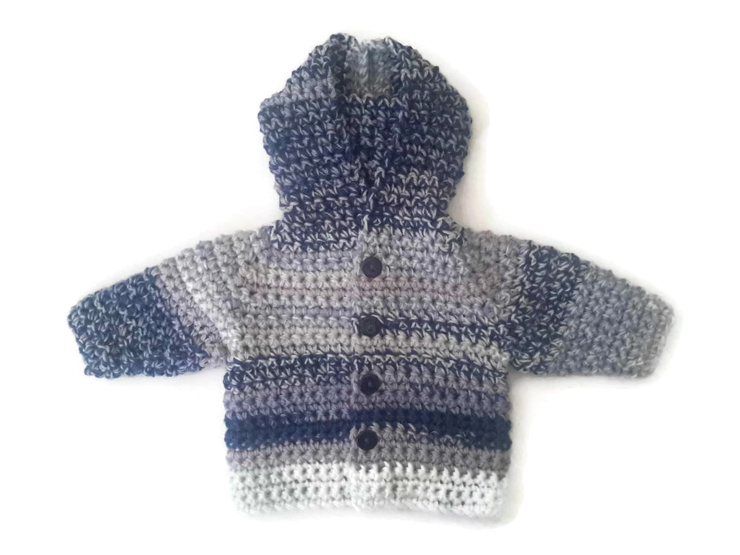 Wool mix chunky baby hooded coat baby boy sweater jacket cardigan hoodie navy blue stripe baby sweater baby shower gift.   035 months