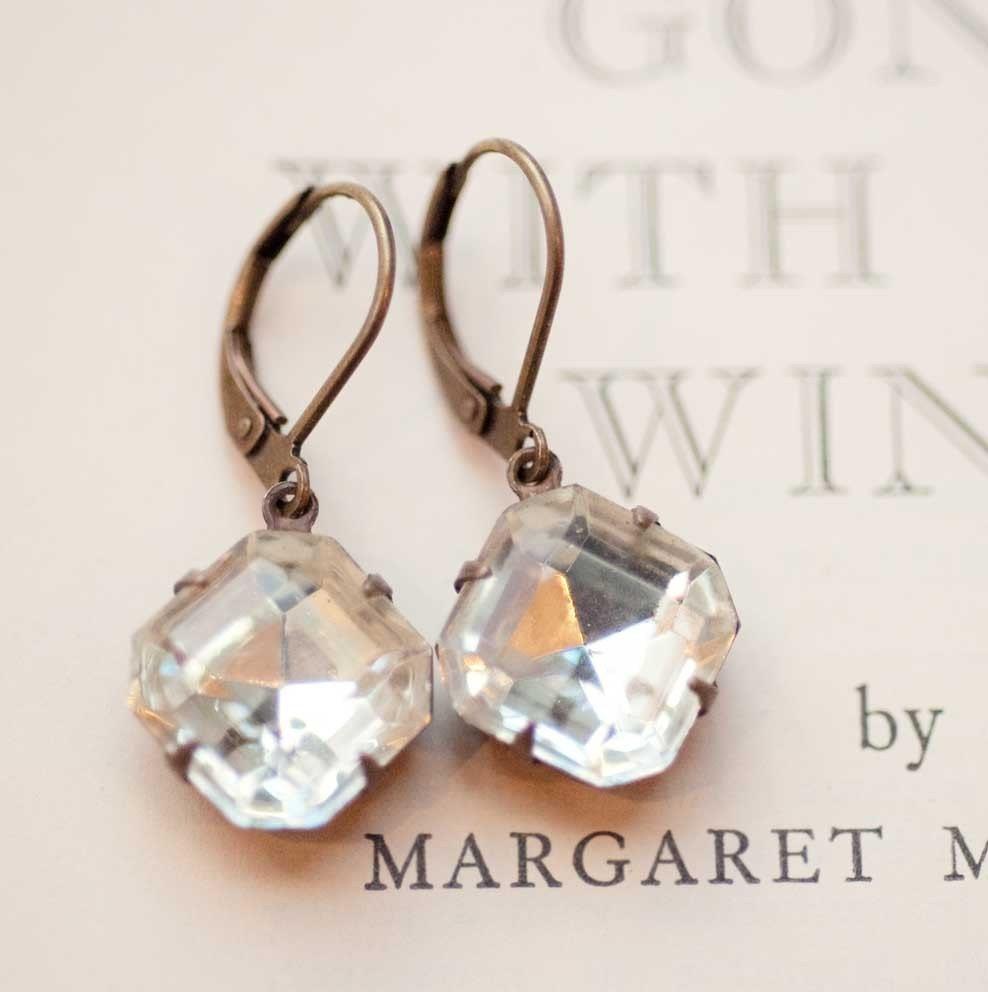 Estate Style Vintage Clear Crystal Earrings