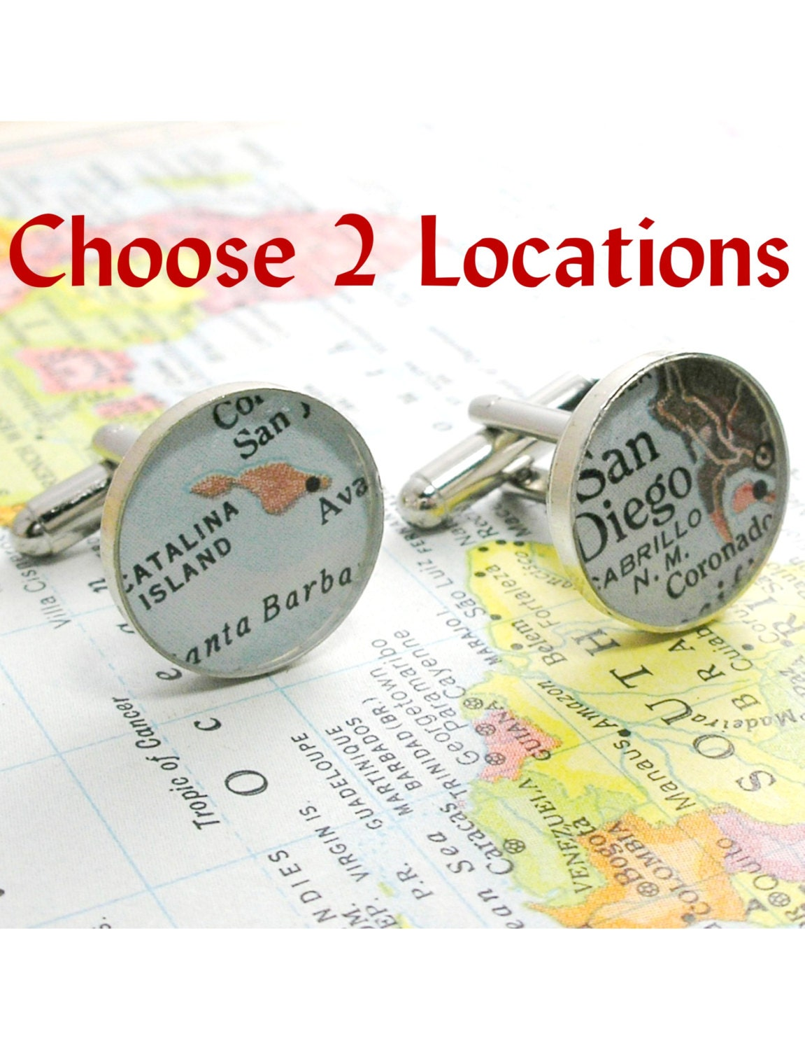 , Anniversary Gifts for Men Vintage Map Cufflinks. Sterling Silver ...