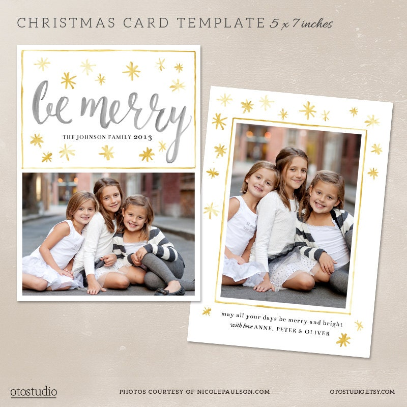 Digital photoshop christmas card template for by otostudio for Digital christmas cards templates