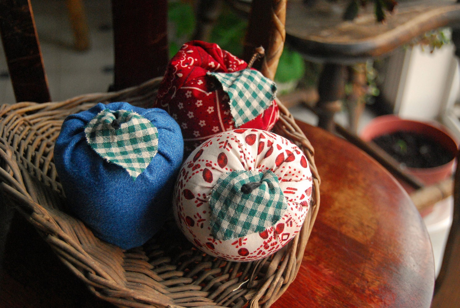 "Handmade Cloth Scented Apples ""Jeans Go With Everything Collection"" Set of Three"