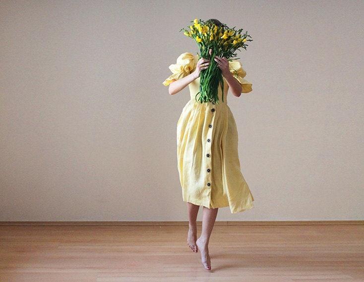 Yellow linen folk dirndl princess dress - founditgreat