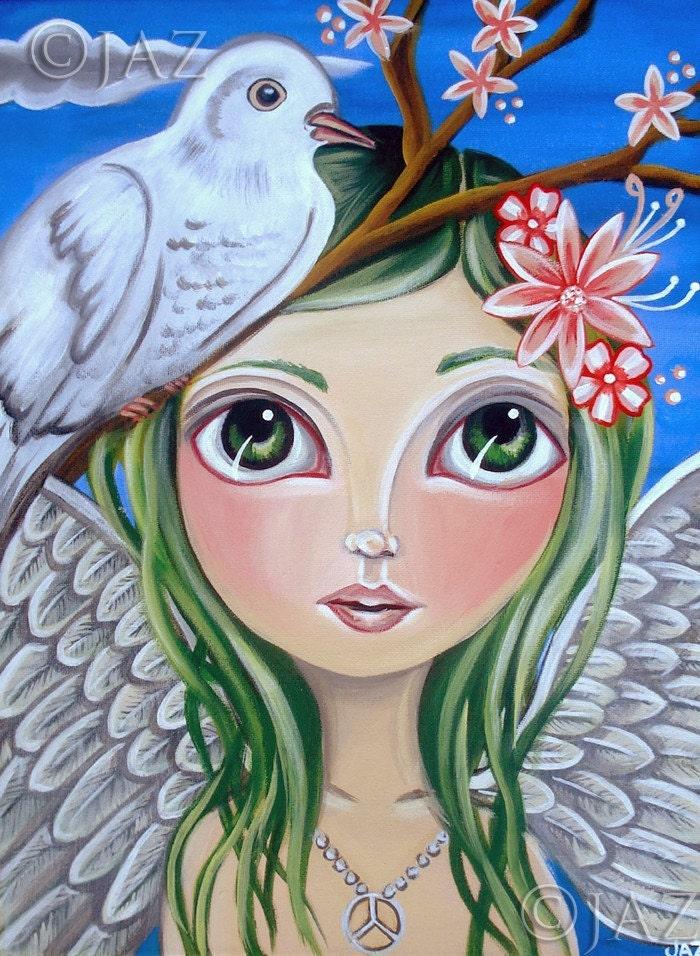 Big ART PRINT - Peace Angel  - by Jaz - 12x16