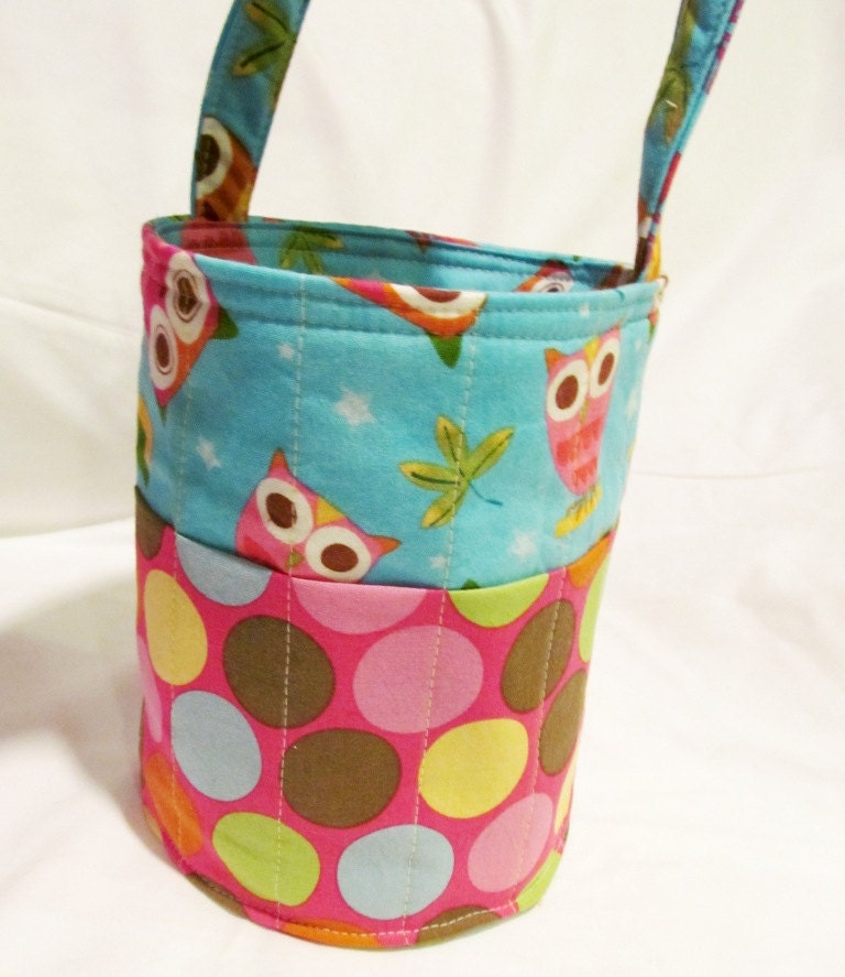 Creative Kids Art Bucket - On A Whim Owls in Aqua - Fabric Basket Organizer - Made to order